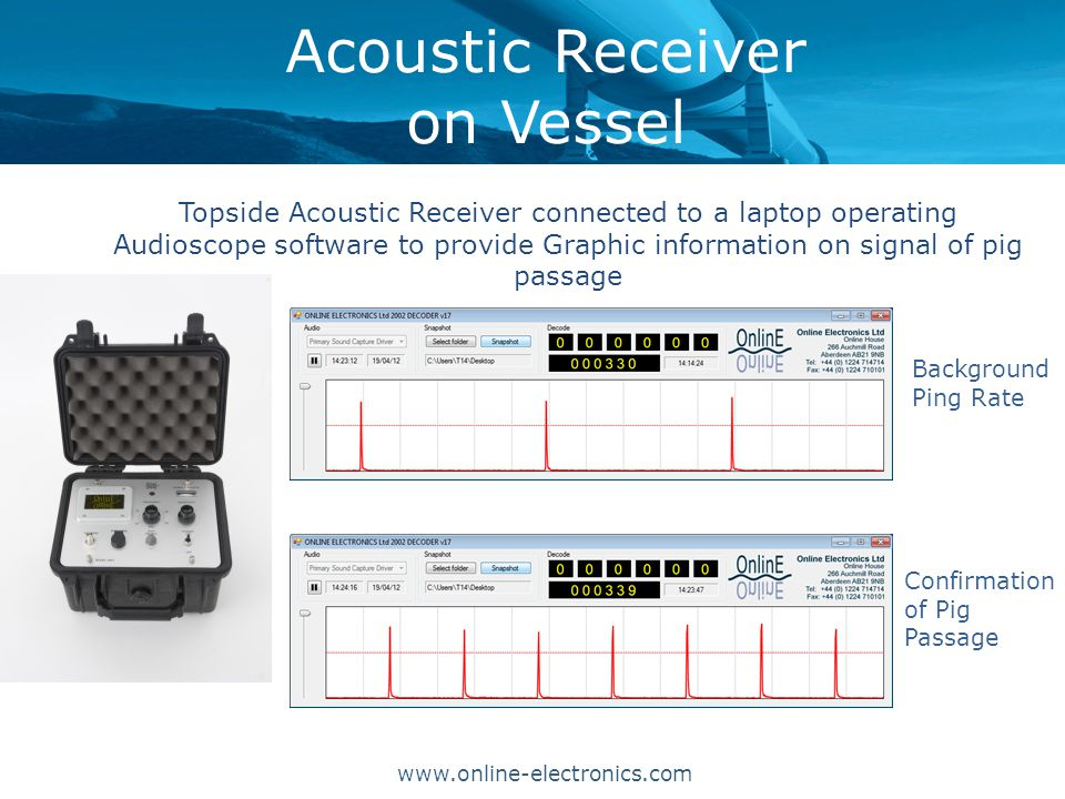 Acoustic Receiver on Vessel Topside Acoustic Receiver connected to a laptop operating Audioscope software to provide Graphic information on signal of pig passage www.online-electronics.com Confirmation of Pig Passage Background Ping Rate
