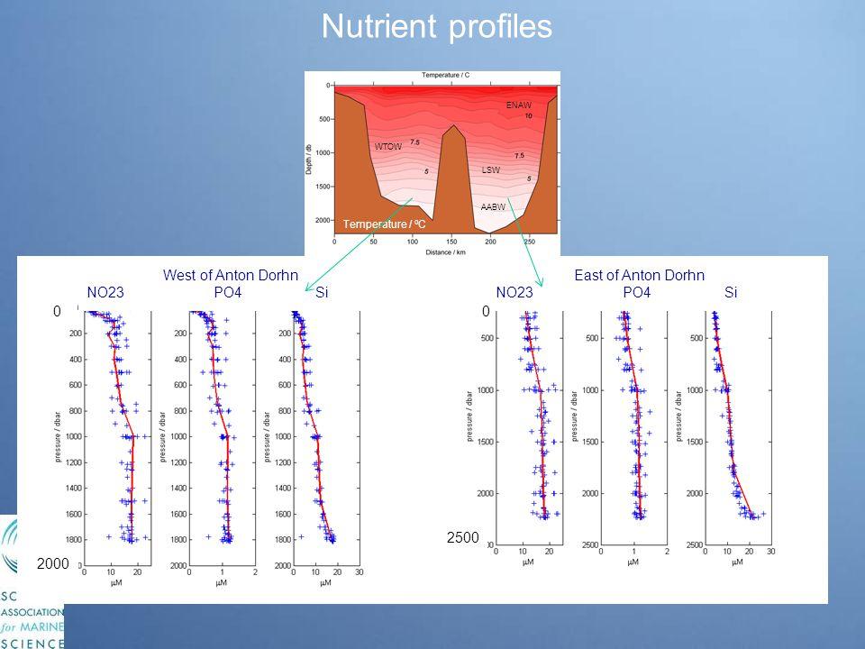 Temperature / o C AABW ENAW LSW WTOW Nutrient profiles East of Anton Dorhn NO23 PO4 Si West of Anton Dorhn NO23 PO4 Si 0 2000 2500 0