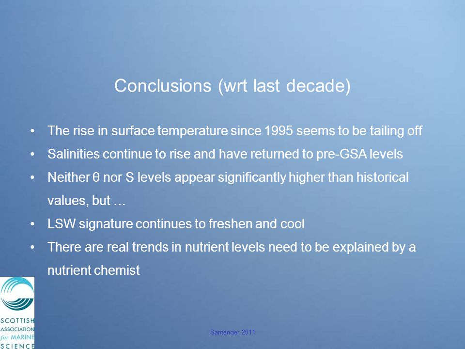 Santander 2011 Conclusions (wrt last decade) The rise in surface temperature since 1995 seems to be tailing off Salinities continue to rise and have returned to pre-GSA levels Neither θ nor S levels appear significantly higher than historical values, but … LSW signature continues to freshen and cool There are real trends in nutrient levels need to be explained by a nutrient chemist