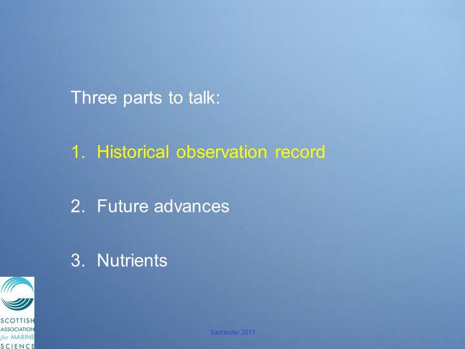 Santander 2011 Three parts to talk: 1.Historical observation record 2.Future advances 3.Nutrients