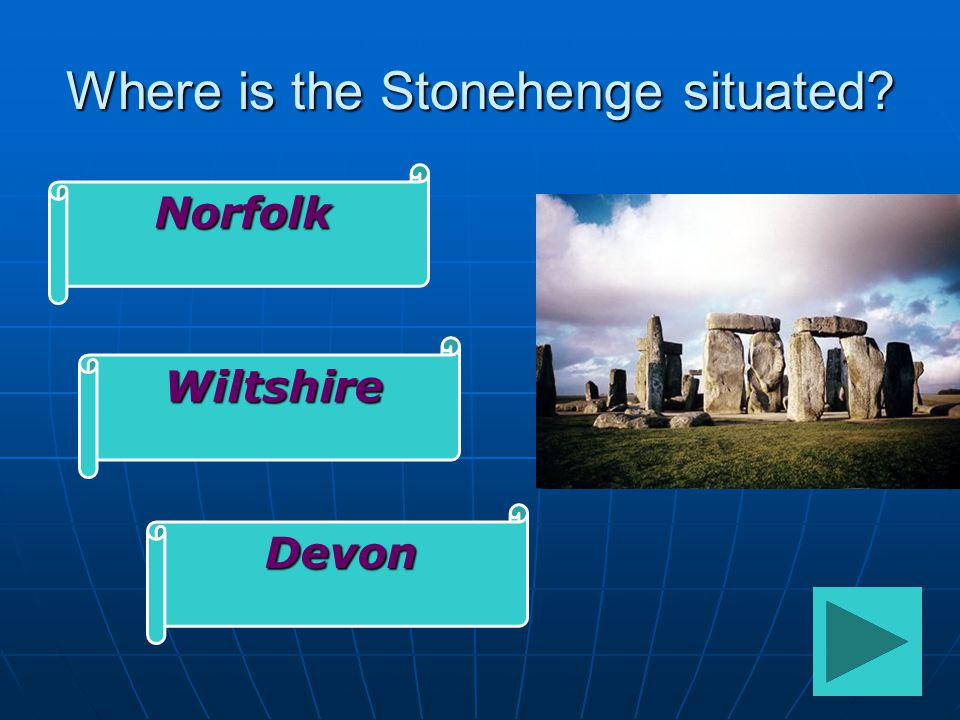 Where is the Stonehenge situated Norfolk Wiltshire Devon