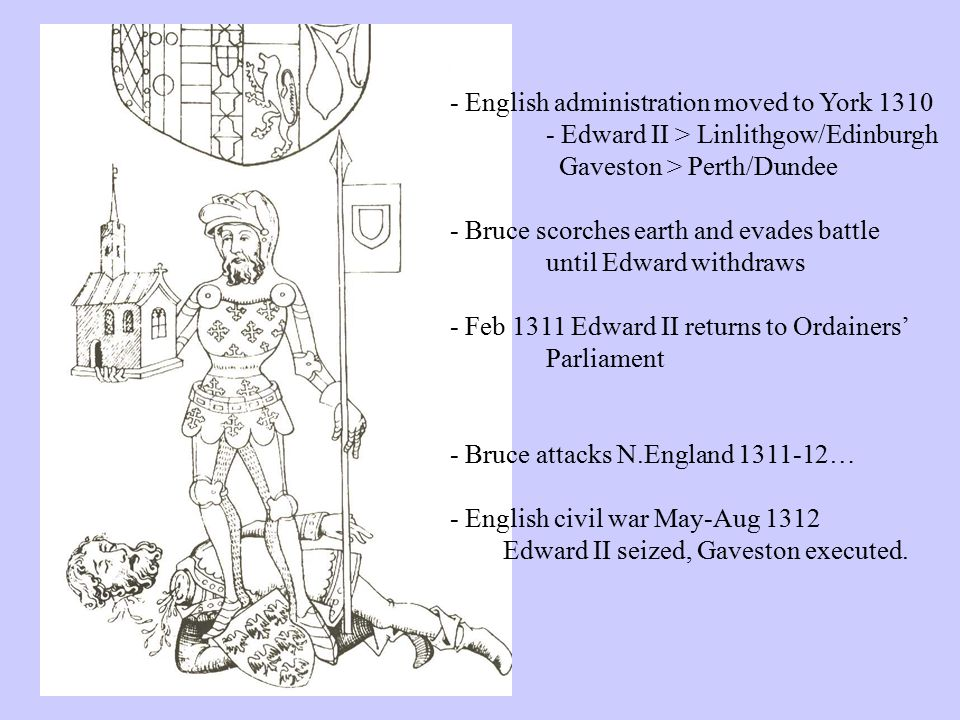 - English administration moved to York 1310 - Edward II > Linlithgow/Edinburgh Gaveston > Perth/Dundee - Bruce scorches earth and evades battle until Edward withdraws - Feb 1311 Edward II returns to Ordainers' Parliament - Bruce attacks N.England 1311-12… - English civil war May-Aug 1312 Edward II seized, Gaveston executed.