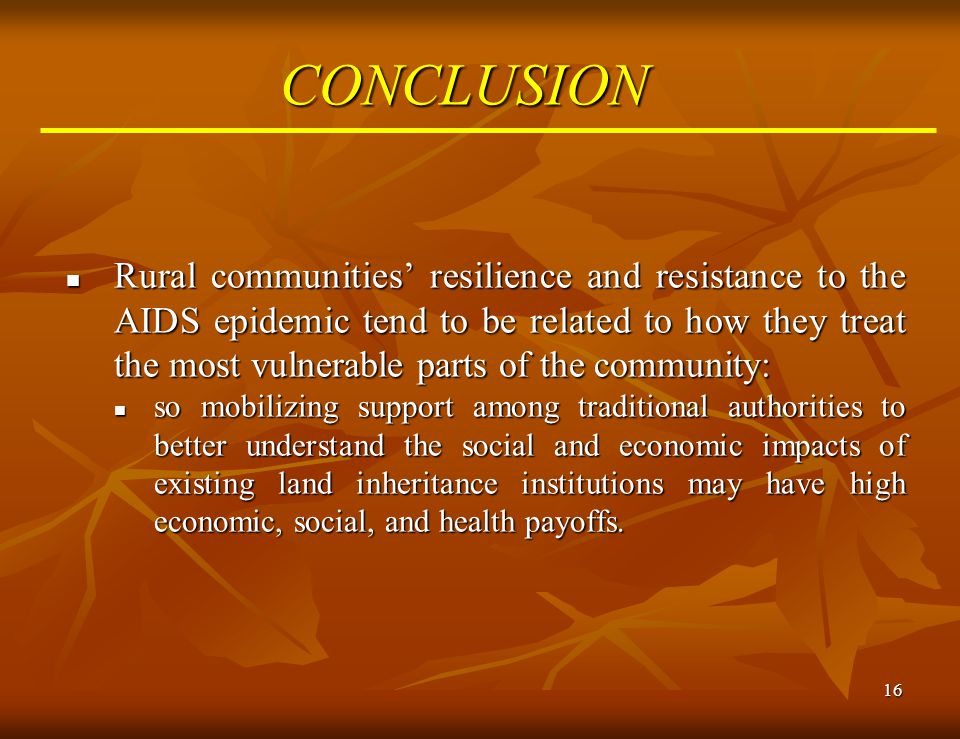16 CONCLUSION Rural communities' resilience and resistance to the AIDS epidemic tend to be related to how they treat the most vulnerable parts of the