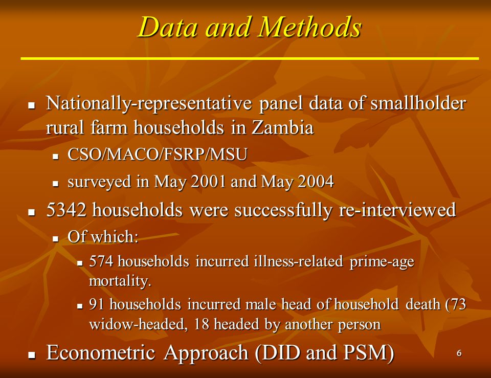 7 Factors hypothesized to influence widow's ability to retain land Widow characteristics Widow characteristics Age Age Years of education Years of education Widow's relation to village headman Widow's relation to village headman Initial household characteristics Initial household characteristics Wealth status Wealth status Household composition (adults and children) Household composition (adults and children) Deceased husband's relation to the village headman Deceased husband's relation to the village headman Number of years settled in locality Number of years settled in locality HHs in villages adhering to matrilineal vs.