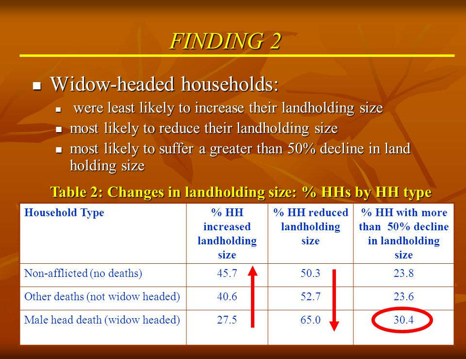 10 FINDING 3 To some extent, older widows are protected against loss of land compared to younger widows.