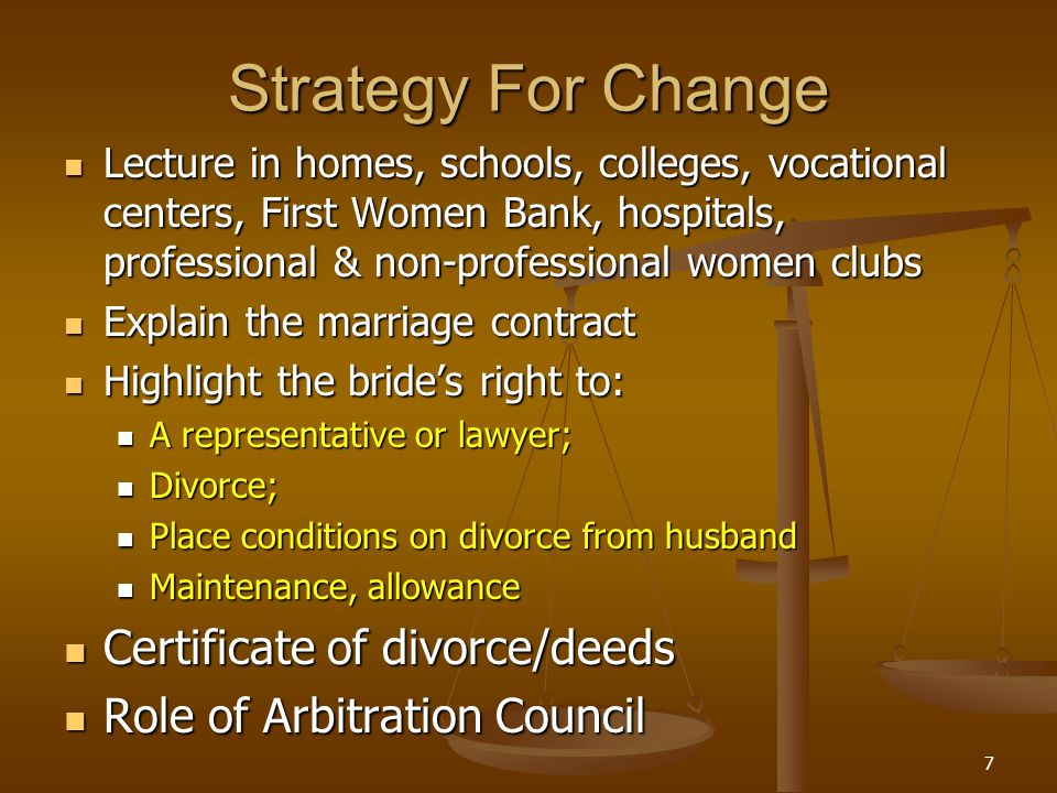 Strategy For Change Lecture in homes, schools, colleges, vocational centers, First Women Bank, hospitals, professional & non-professional women clubs