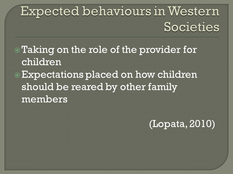 Taking on the role of the provider for children  Expectations placed on how children should be reared by other family members (Lopata, 2010)