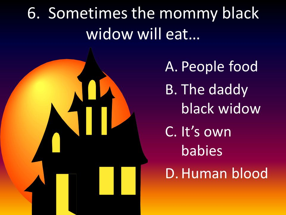 6. Sometimes the mommy black widow will eat… A.People food B.The daddy black widow C.It's own babies D.Human blood