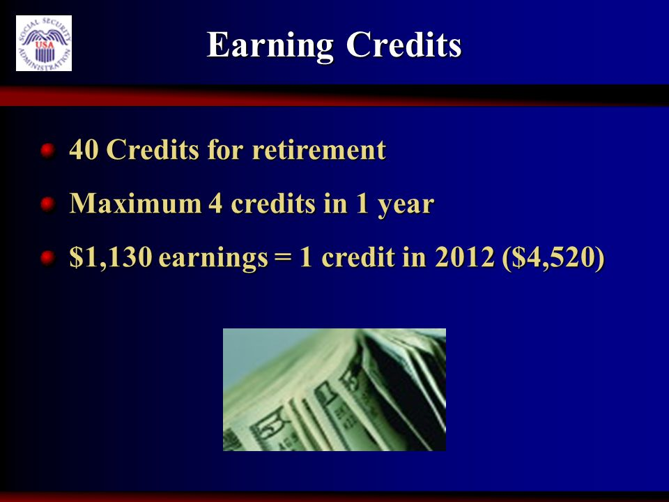Earning Credits 40 Credits for retirement 40 Credits for retirement Maximum 4 credits in 1 year Maximum 4 credits in 1 year $1,130 earnings = 1 credit
