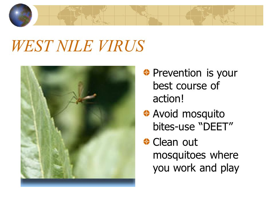 WEST NILE VIRUS Prevention is your best course of action.
