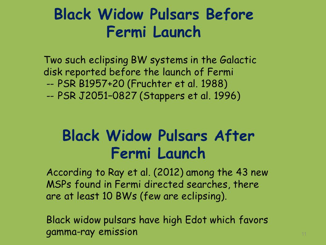 11 Two such eclipsing BW systems in the Galactic disk reported before the launch of Fermi -- PSR B1957+20 (Fruchter et al.