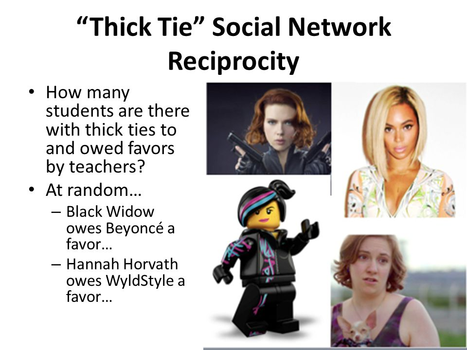 Thick Tie Social Network Reciprocity How many students are there with thick ties to and owed favors by teachers.