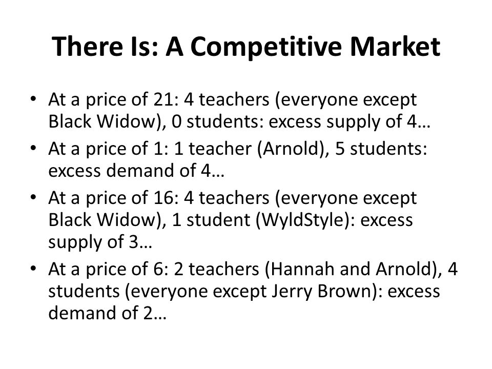There Is: A Competitive Market At a price of 21: 4 teachers (everyone except Black Widow), 0 students: excess supply of 4… At a price of 1: 1 teacher (Arnold), 5 students: excess demand of 4… At a price of 16: 4 teachers (everyone except Black Widow), 1 student (WyldStyle): excess supply of 3… At a price of 6: 2 teachers (Hannah and Arnold), 4 students (everyone except Jerry Brown): excess demand of 2…
