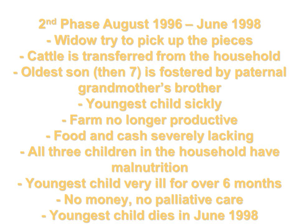 2 nd Phase August 1996 – June 1998 - Widow try to pick up the pieces - Cattle is transferred from the household - Oldest son (then 7) is fostered by paternal grandmother's brother - Youngest child sickly - Farm no longer productive - Food and cash severely lacking - All three children in the household have malnutrition - Youngest child very ill for over 6 months - No money, no palliative care - Youngest child dies in June 1998
