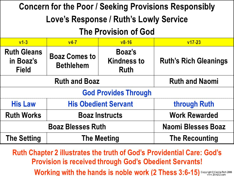 Concern for the Poor / Seeking Provisions Responsibly Love's Response / Ruth's Lowly Service The Provision of God v1-3v4-7v8-16v17-23 Ruth Gleans in Boaz's Field Boaz Comes to Bethlehem Boaz's Kindness to Ruth Ruth's Rich Gleanings Ruth and BoazRuth and Naomi God Provides Through His LawHis Obedient Servantthrough Ruth Ruth WorksBoaz InstructsWork Rewarded Boaz Blesses RuthNaomi Blesses Boaz The SettingThe MeetingThe Recounting Ruth Chapter 2 illustrates the truth of God's Providential Care: God's Provision is received through God's Obedient Servants.