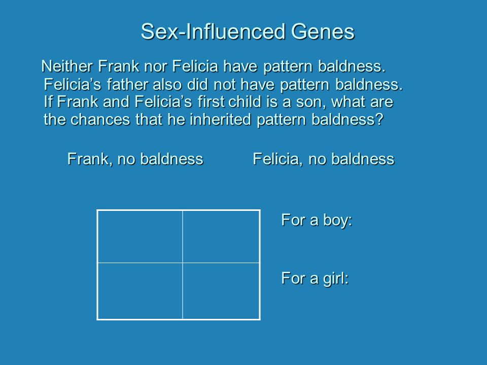 Sex-Influenced Genes Neither Frank nor Felicia have pattern baldness. Felicia's father also did not have pattern baldness. If Frank and Felicia's firs