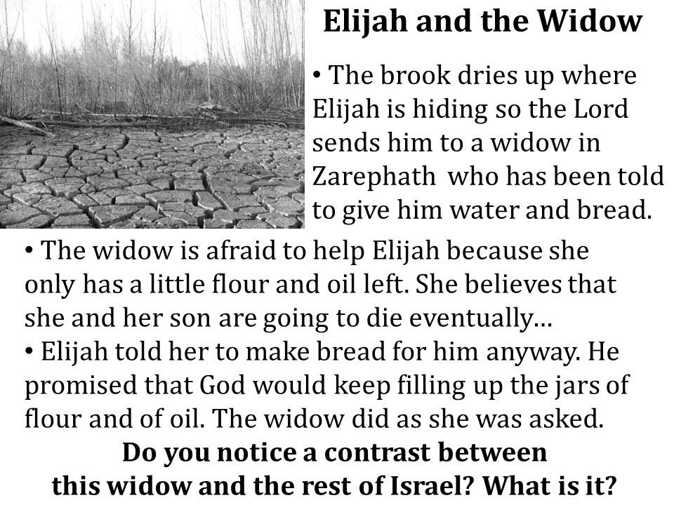 Elijah and the Widow The brook dries up where Elijah is hiding so the Lord sends him to a widow in Zarephath who has been told to give him water and b