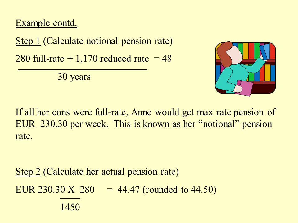 Example contd. Step 1 (Calculate notional pension rate) 280 full-rate + 1,170 reduced rate = 48 30 years If all her cons were full-rate, Anne would ge