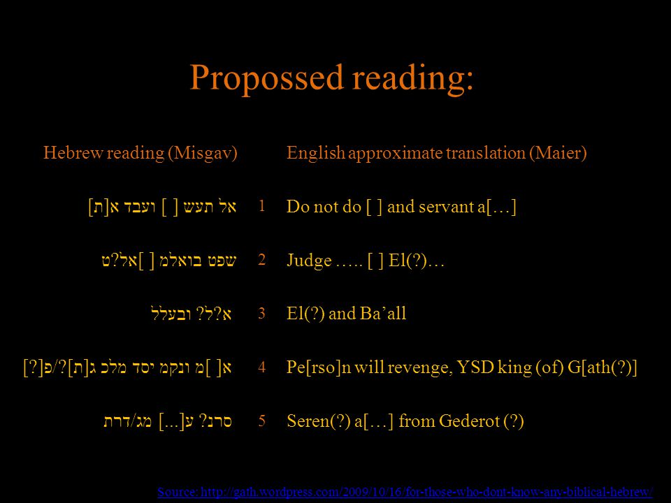 Propossed reading: Hebrew reading (Misgav)English approximate translation (Maier) אל תעש [ ] ועבד א[ת] 1 Do not do [ ] and servant a[…] שפט בואלמ [ ]אל ט 2 Judge …..