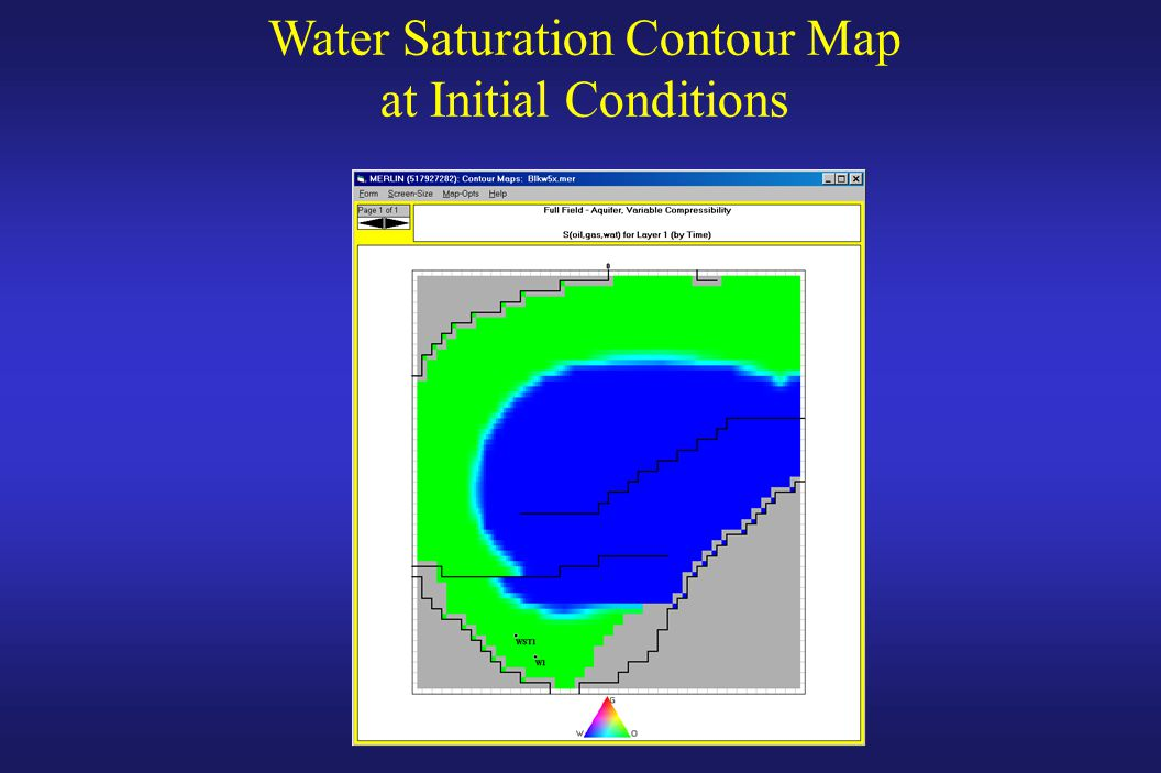 Water Saturation Contour Map at Initial Conditions