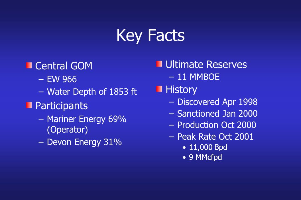 Key Facts Central GOM –EW 966 –Water Depth of 1853 ft Participants –Mariner Energy 69% (Operator) –Devon Energy 31% Ultimate Reserves –11 MMBOE History –Discovered Apr 1998 –Sanctioned Jan 2000 –Production Oct 2000 –Peak Rate Oct 2001 11,000 Bpd 9 MMcfpd