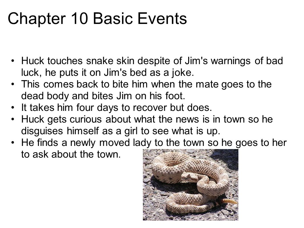 Chapter 10 Basic Events Huck touches snake skin despite of Jim's warnings of bad luck, he puts it on Jim's bed as a joke. This comes back to bite him