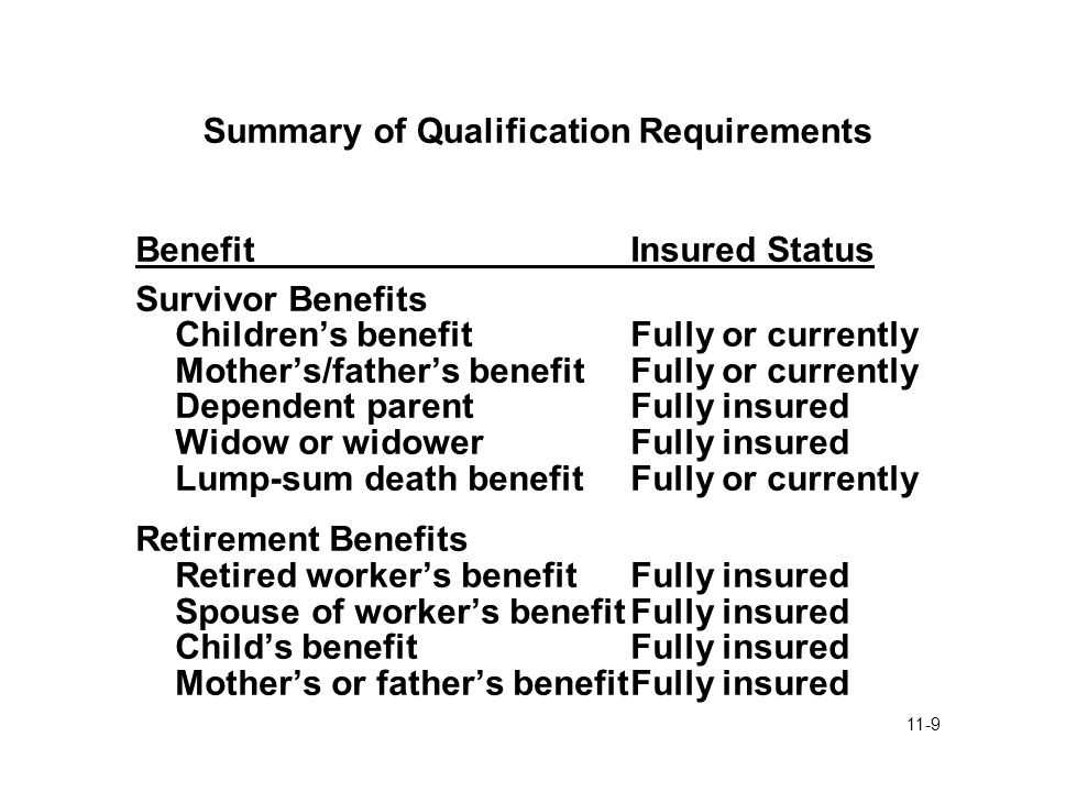11-9 Summary of Qualification Requirements BenefitInsured Status Survivor Benefits Children's benefitFully or currently Mother's/father's benefitFully