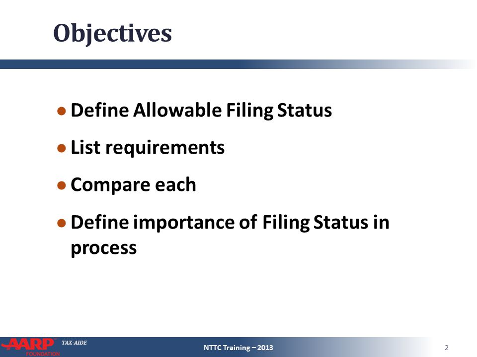 TAX-AIDE Filing Status – Tax Rate NTTC Training – 201313