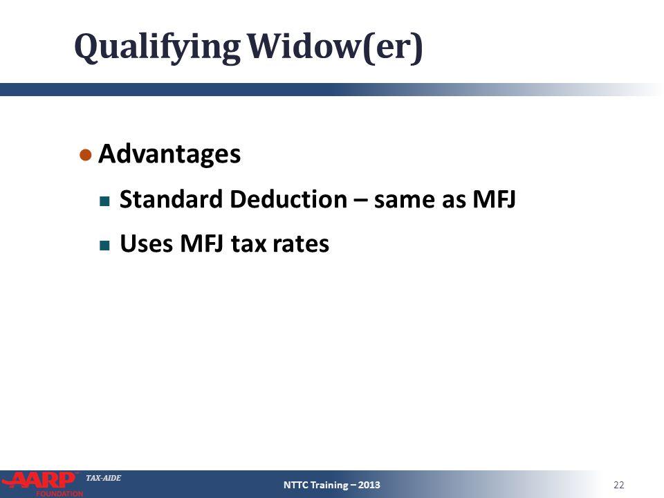 TAX-AIDE Qualifying Widow(er) ● Advantages Standard Deduction – same as MFJ Uses MFJ tax rates NTTC Training – 201322