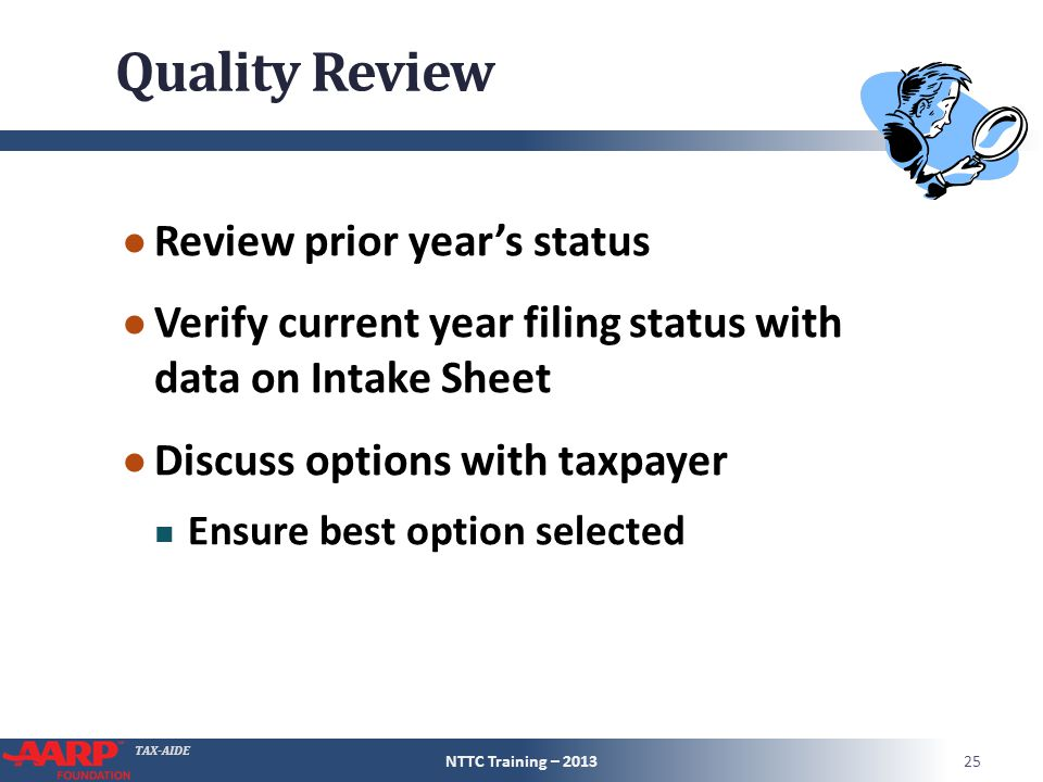 TAX-AIDE Quality Review ● Review prior year's status ● Verify current year filing status with data on Intake Sheet ● Discuss options with taxpayer Ens