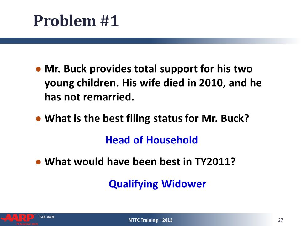 TAX-AIDE Problem #1 ● Mr. Buck provides total support for his two young children. His wife died in 2010, and he has not remarried. ● What is the best