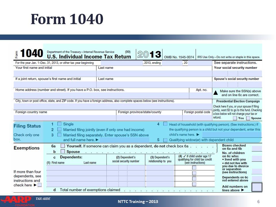 TAX-AIDE Form 1040 NTTC Training – 20137