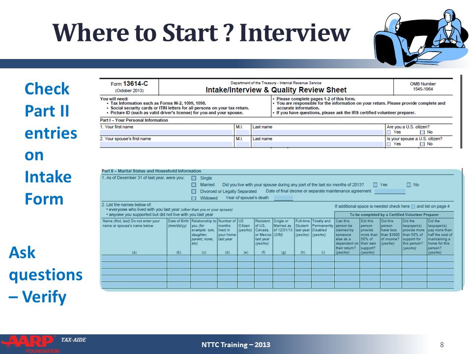TAX-AIDE Where to Start ? Interview Check Part II entries on Intake Form Ask questions – Verify NTTC Training – 20138