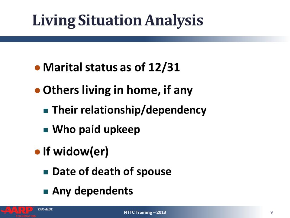 TAX-AIDE Living Situation Analysis ● Marital status as of 12/31 ● Others living in home, if any Their relationship/dependency Who paid upkeep ● If wid