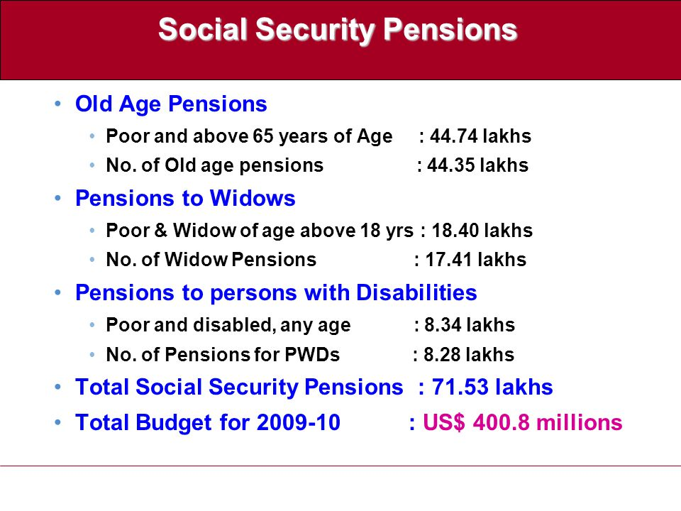 Social Security Pensions Old Age Pensions Poor and above 65 years of Age : 44.74 lakhs No.