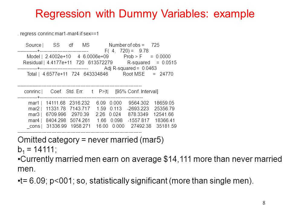 Regression with Dummy Variables: example 8.