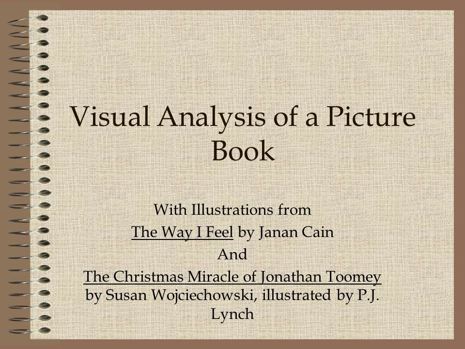 Visual Analysis of a Picture Book With Illustrations from The Way I Feel by Janan Cain And The Christmas Miracle of Jonathan Toomey by Susan Wojciechowski, illustrated by P.J.