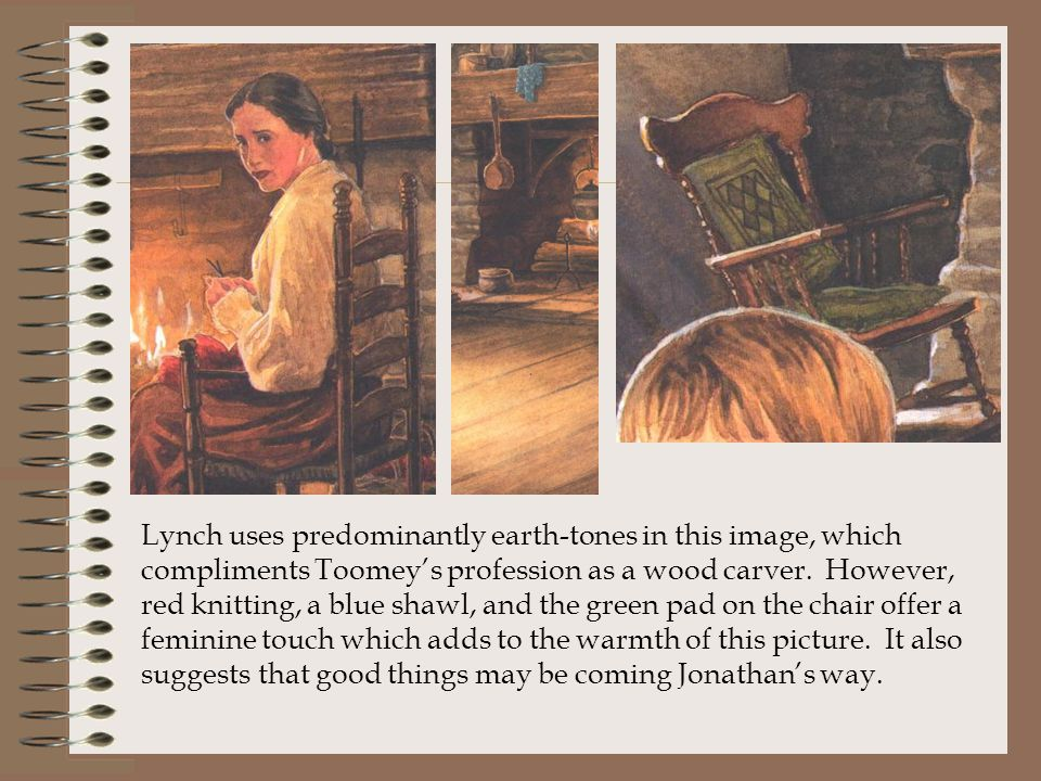 Lynch uses predominantly earth-tones in this image, which compliments Toomey's profession as a wood carver.