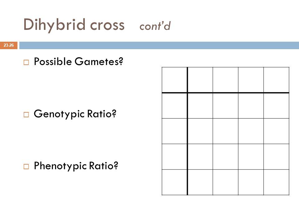 Dihybrid cross cont'd  Possible Gametes?  Genotypic Ratio?  Phenotypic Ratio? 23-26