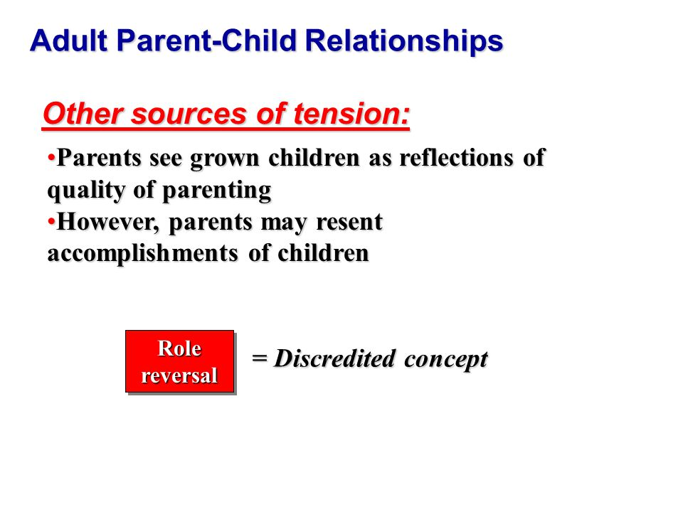 Adult Parent-Child Relationships Other sources of tension: Parents see grown children as reflections of quality of parentingParents see grown children as reflections of quality of parenting However, parents may resent accomplishments of childrenHowever, parents may resent accomplishments of children Role reversal = Discredited concept