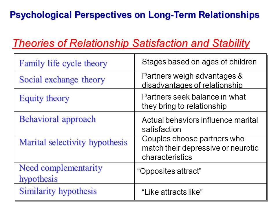 Psychological Perspectives on Long-Term Relationships Theories of Relationship Satisfaction and Stability Stages based on ages of children Family life cycle theory Social exchange theory Partners weigh advantages & disadvantages of relationship Equity theory Partners seek balance in what they bring to relationship Behavioral approach Actual behaviors influence marital satisfaction Marital selectivity hypothesis Couples choose partners who match their depressive or neurotic characteristics Need complementarity hypothesis Opposites attract Similarity hypothesis Like attracts like