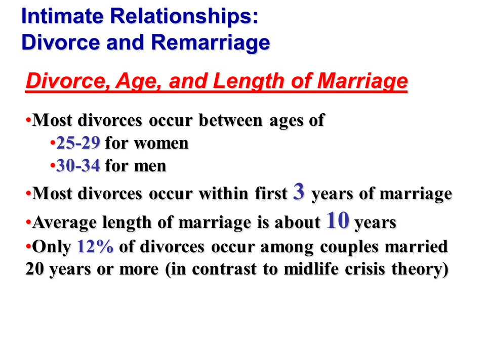 Remarriage Second marriage lasts 2 years less than first marriage (about 8 years)Second marriage lasts 2 years less than first marriage (about 8 years) Third marriages last 2 years less than second marriagesThird marriages last 2 years less than second marriages Divorce rates from second and third marriages are double the rates from firstDivorce rates from second and third marriages are double the rates from first Intimate Relationships: Divorce and Remarriage