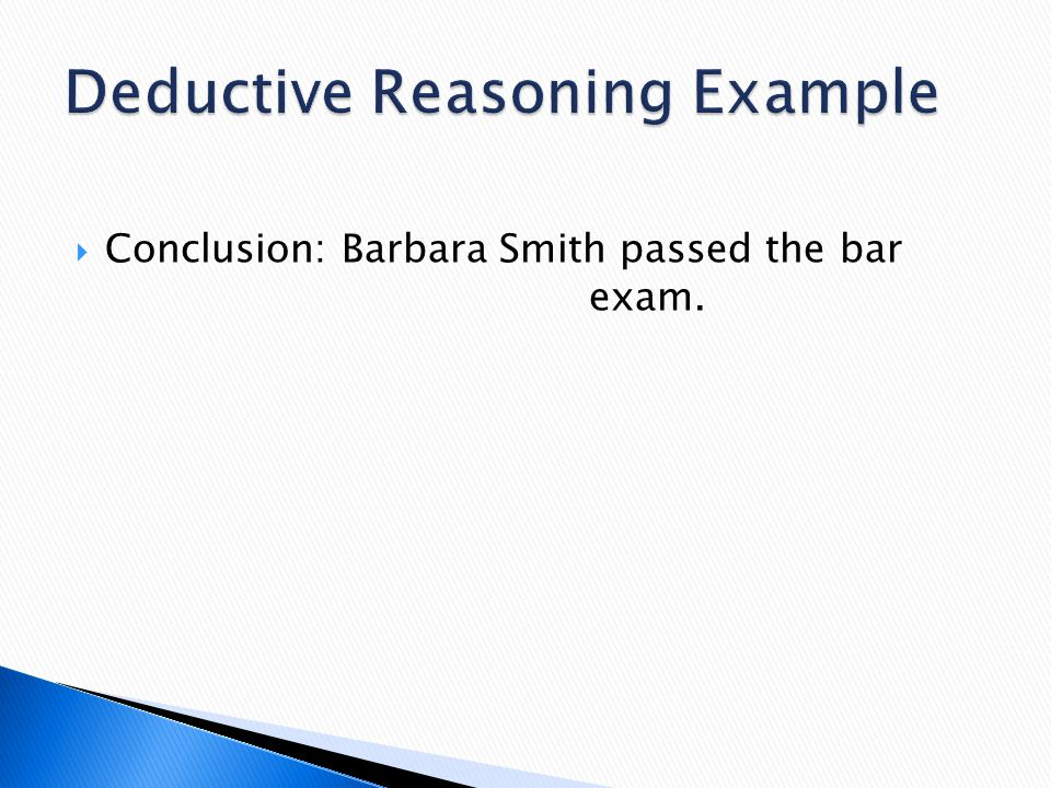  Conclusion: Barbara Smith passed the bar exam.