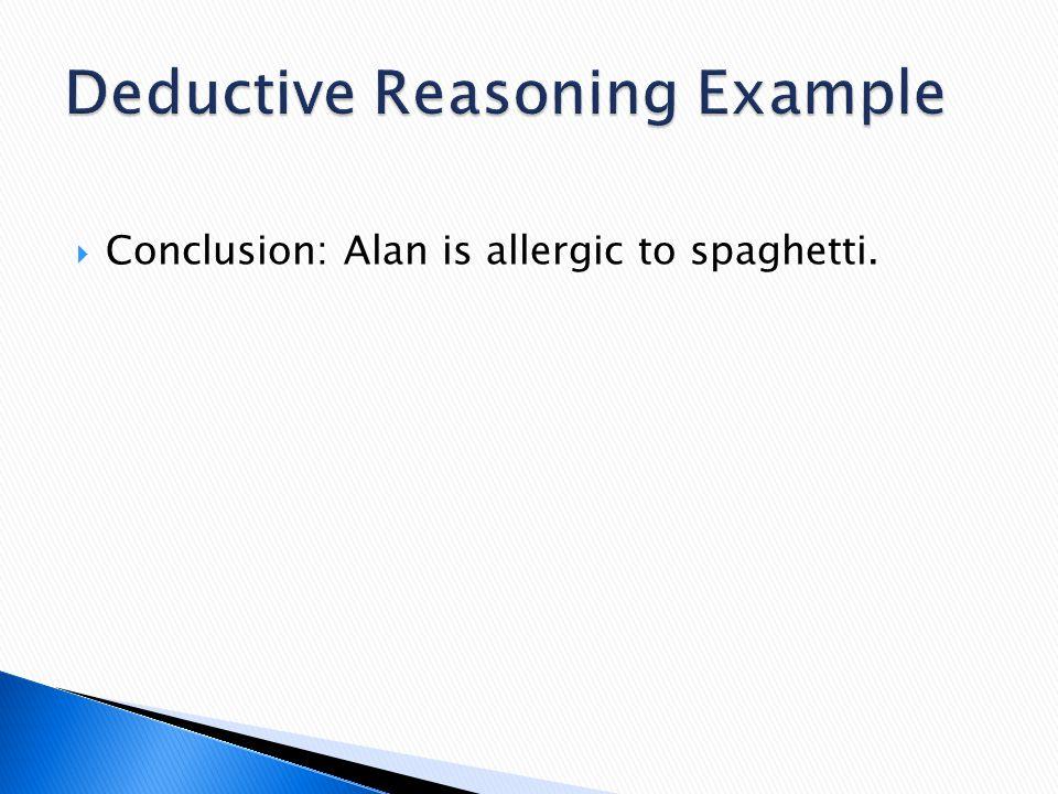  Conclusion: Alan is allergic to spaghetti.