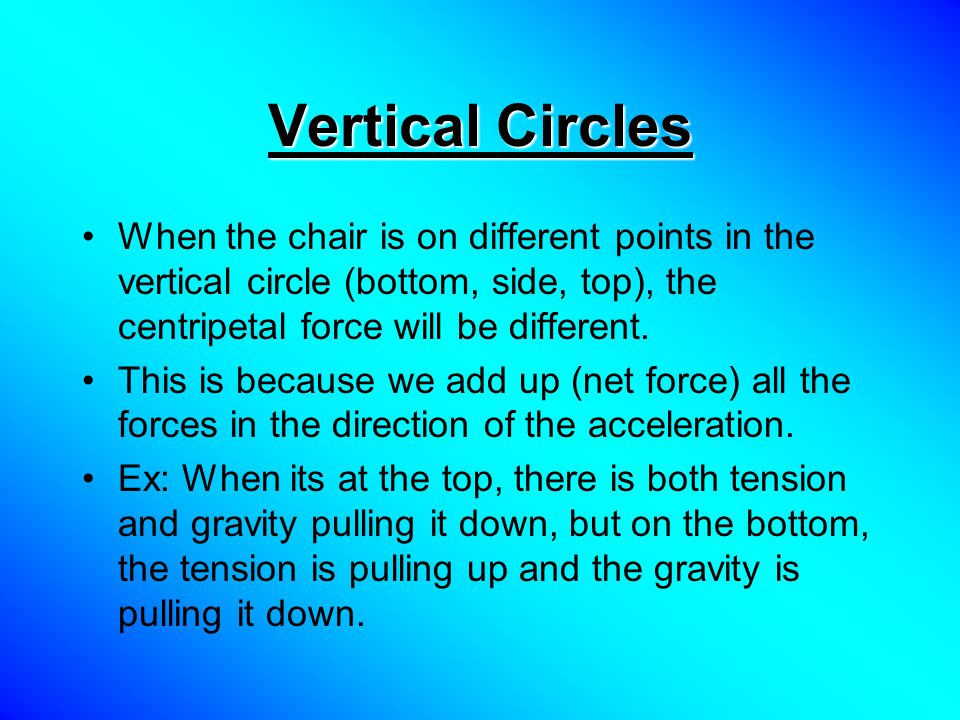 Vertical Circles When the chair is on different points in the vertical circle (bottom, side, top), the centripetal force will be different.