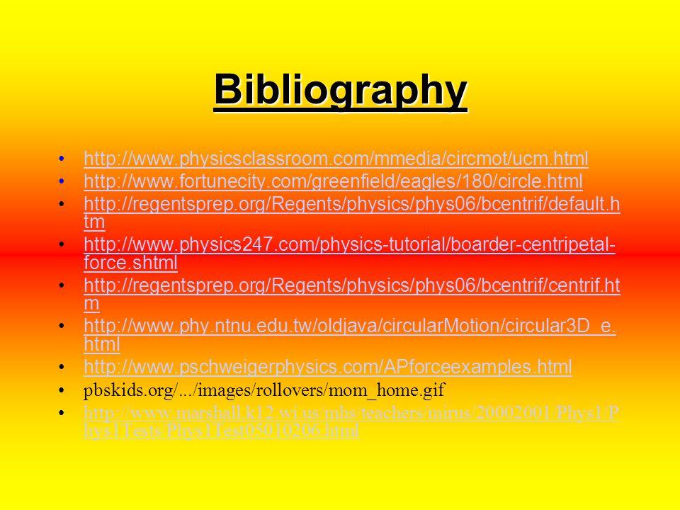 Bibliography http://www.physicsclassroom.com/mmedia/circmot/ucm.html http://www.fortunecity.com/greenfield/eagles/180/circle.html http://regentsprep.org/Regents/physics/phys06/bcentrif/default.h tmhttp://regentsprep.org/Regents/physics/phys06/bcentrif/default.h tm http://www.physics247.com/physics-tutorial/boarder-centripetal- force.shtmlhttp://www.physics247.com/physics-tutorial/boarder-centripetal- force.shtml http://regentsprep.org/Regents/physics/phys06/bcentrif/centrif.ht mhttp://regentsprep.org/Regents/physics/phys06/bcentrif/centrif.ht m http://www.phy.ntnu.edu.tw/oldjava/circularMotion/circular3D_e.