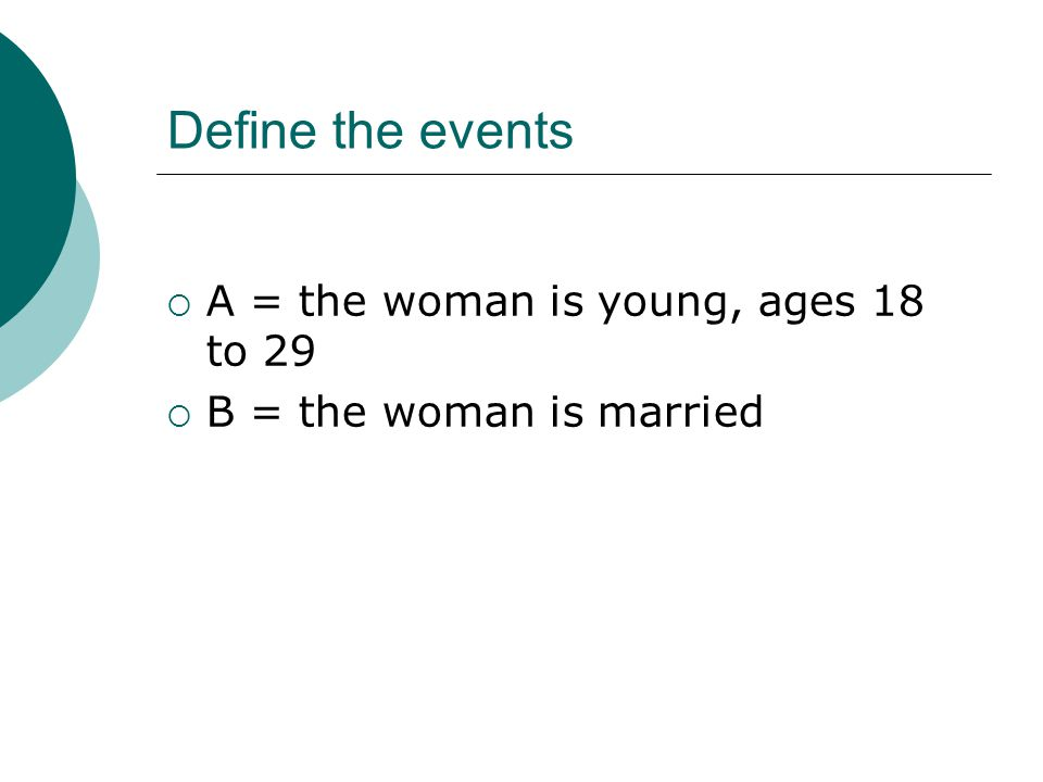 Define the events  A = the woman is young, ages 18 to 29  B = the woman is married
