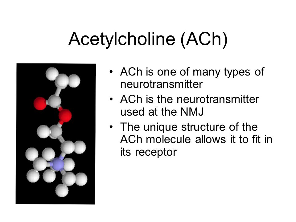 Acetylcholine (ACh) ACh is one of many types of neurotransmitter ACh is the neurotransmitter used at the NMJ The unique structure of the ACh molecule allows it to fit in its receptor