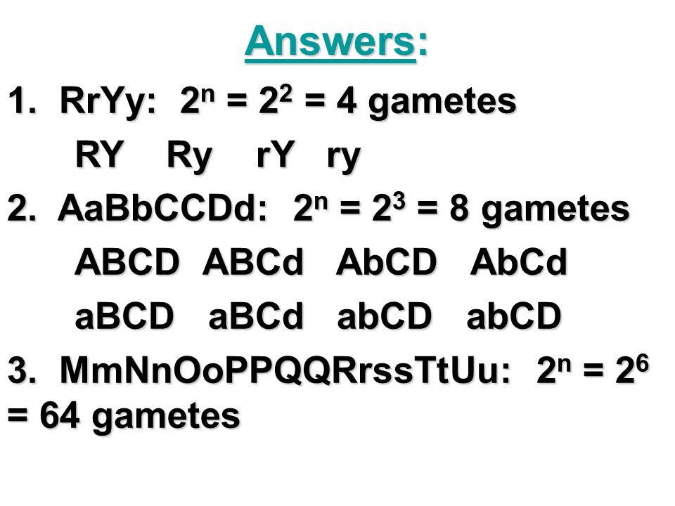 Answers: 1. RrYy: 2 n = 2 2 = 4 gametes RY Ry rY ry 2. AaBbCCDd: 2 n = 2 3 = 8 gametes ABCD ABCd AbCD AbCd aBCD aBCd abCD abCD 3. MmNnOoPPQQRrssTtUu: