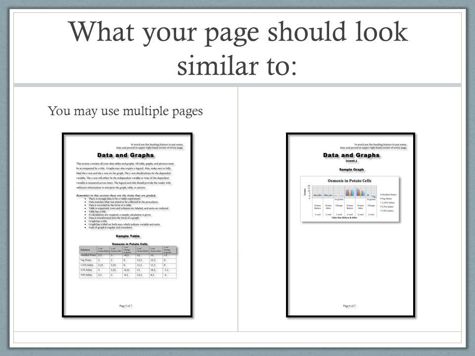 What your page should look similar to: You may use multiple pages